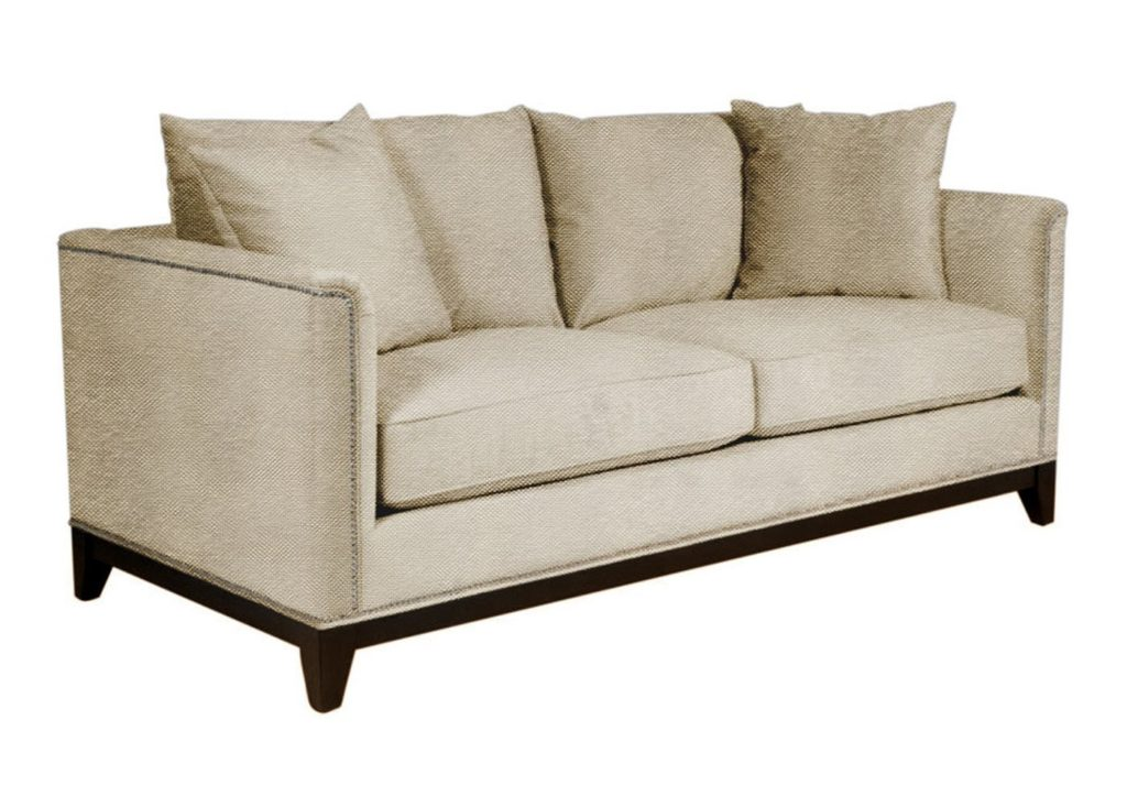 La Brea Studded Apartment Size Sofa, Woven Beach