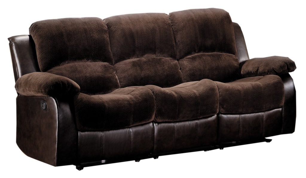 Homelegance 9700FCP-3 Double Reclining Sofa, Brown Plush Microfiber